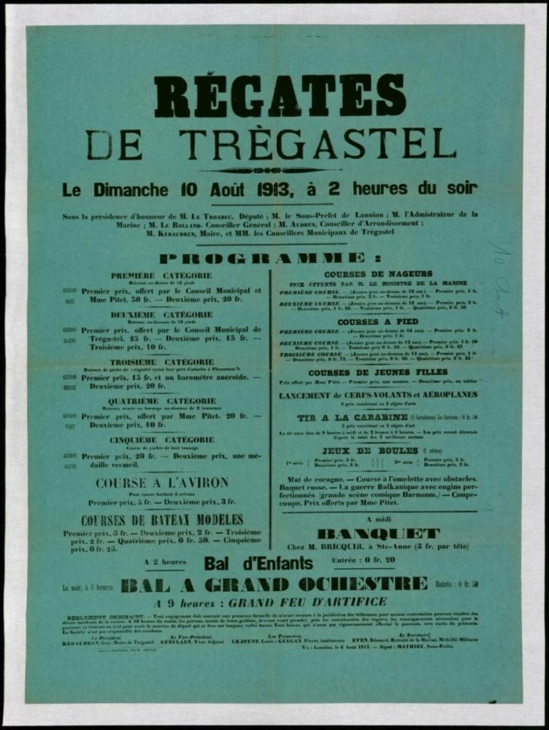 Affiche des régates de Trégastel 1913