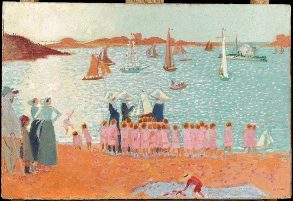 Tableau de l'artiste Maurice Denis intitulé Trégastel, colonnie de vacances 1913